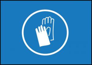 Warnschild Handschuhe tragen