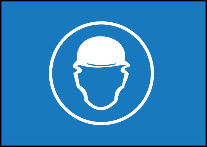 Warnschild Helm tragen