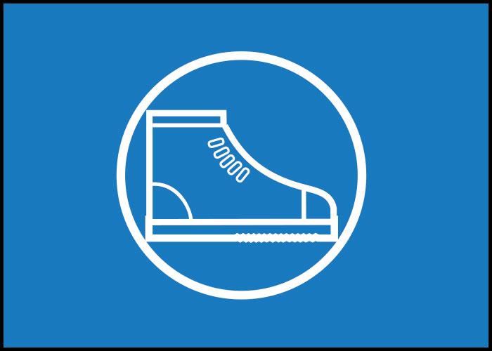 Warnschild Sicherheitsschuhe tragen
